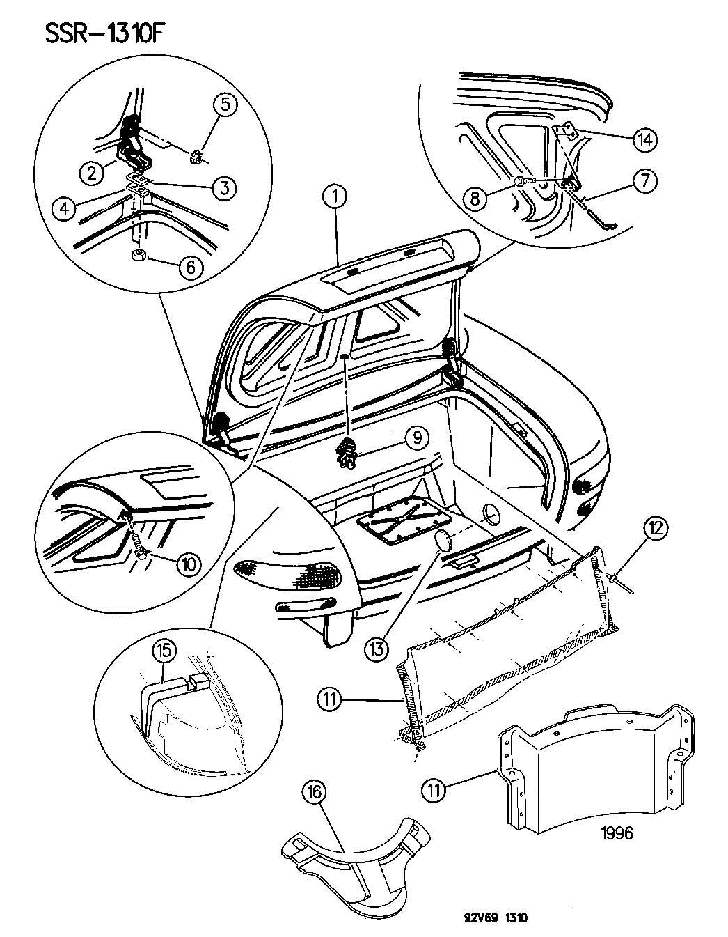 Dodge Neon Plug Trunk Seal 3 Round Shock Service Plug