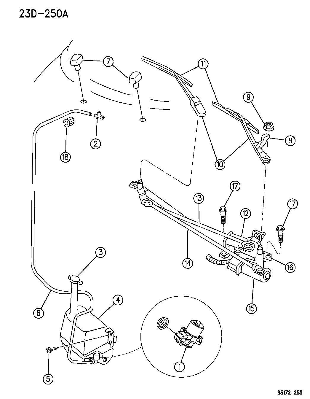 Jeep Liberty Grommet Wiper Frame Rear Wiper Motor