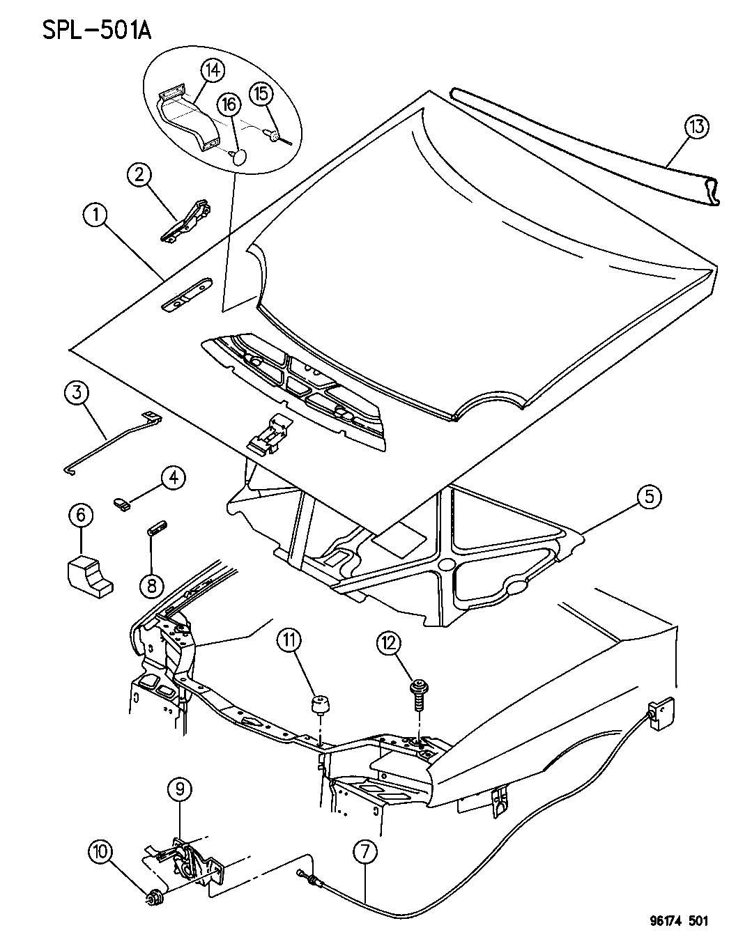 Jeep Wrangler Clip Prop Rod Plastic Displayheadlamp