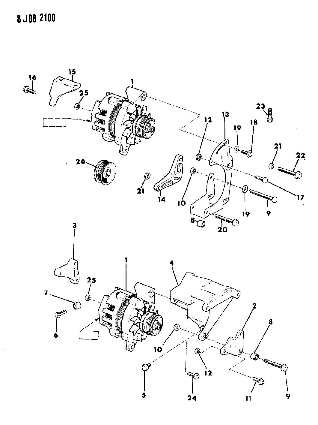 Jeep Cherokee Alternator And Mounting 2 5l Engine