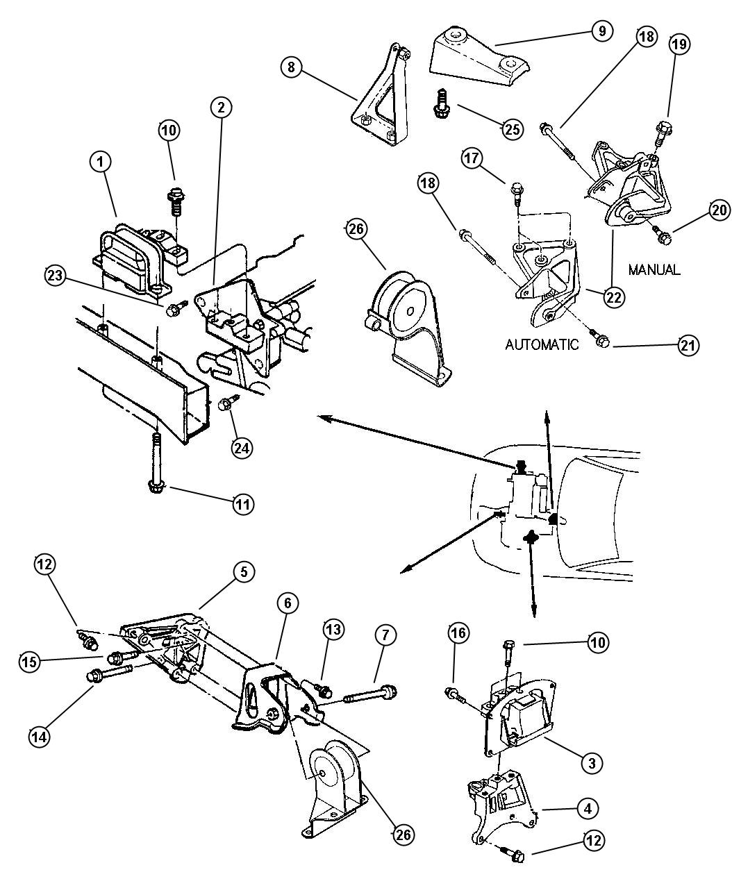 Dodge Stratus Bracket Transmission Mount Left Ecm