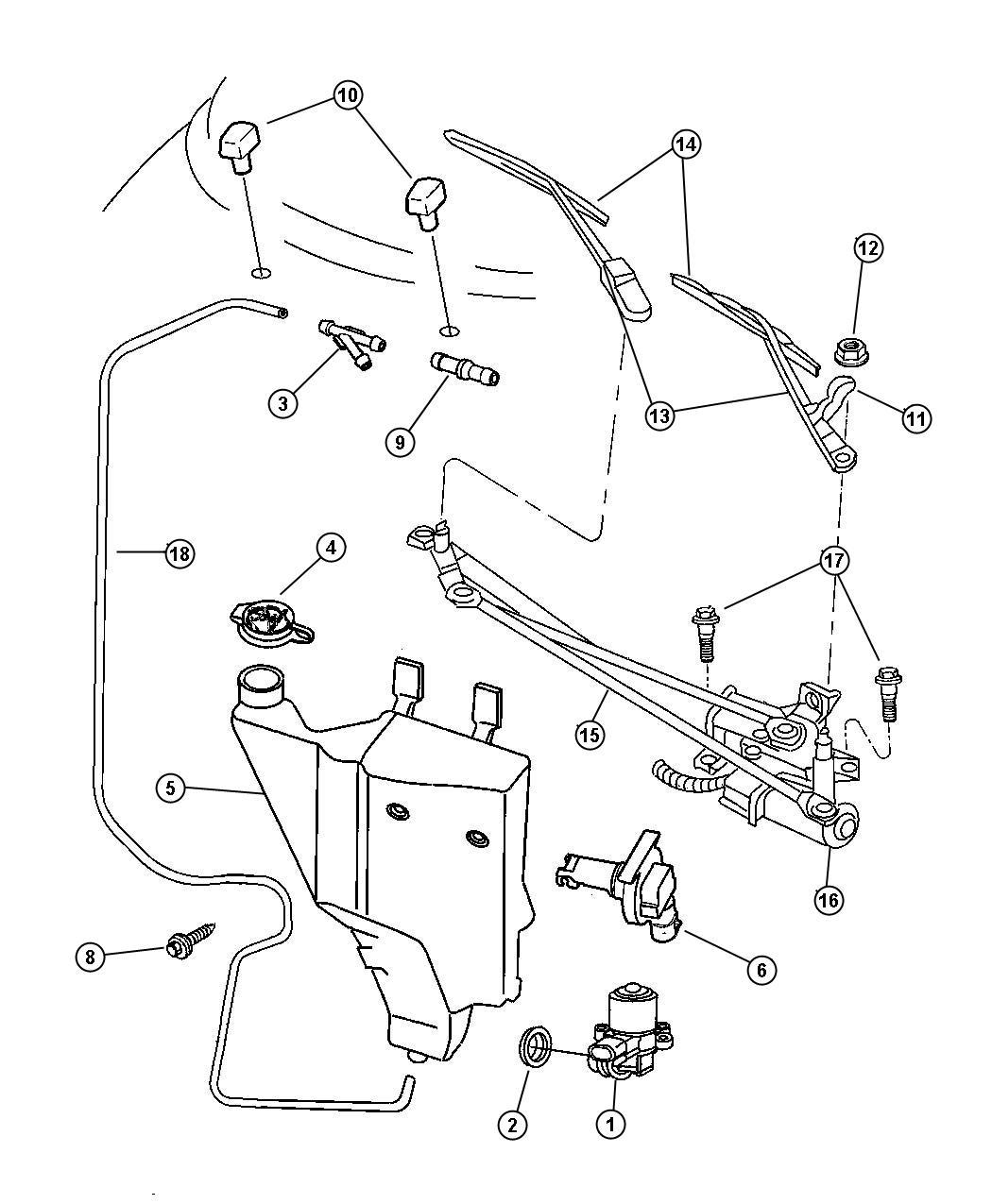 Chrysler Sebring Windshield Wiper And Washer System