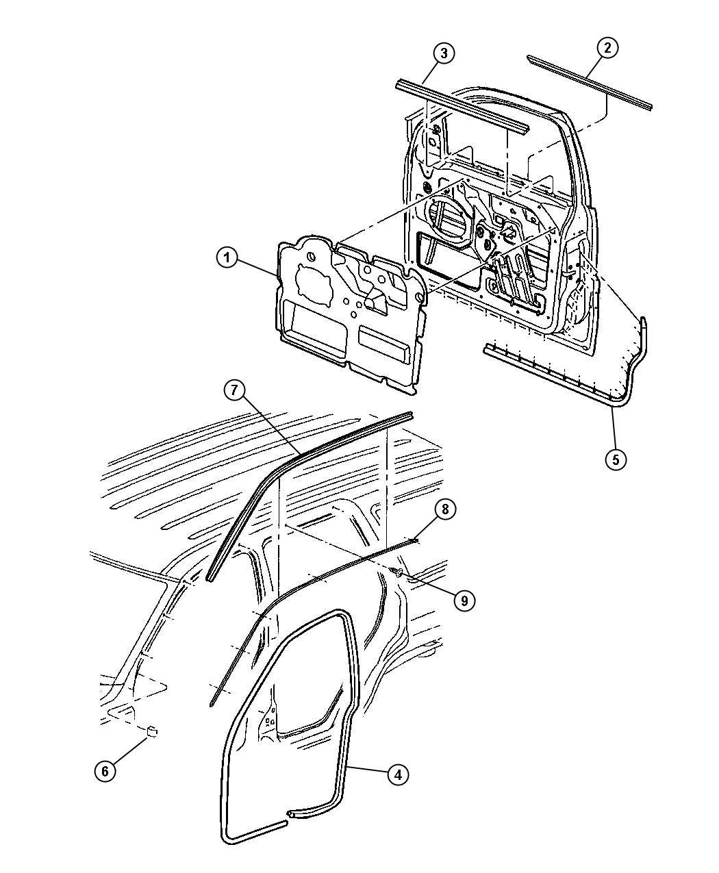 Dodge Nitro Weatherstrip Front Door Belt Inner