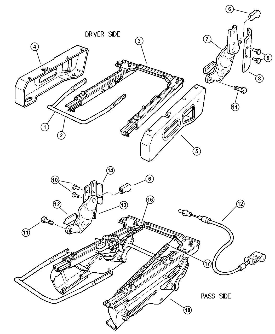 Jeep Wrangler Cable Seat Adjuster Trim M5