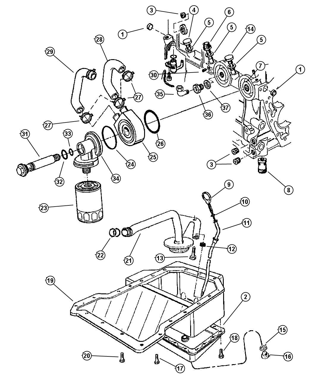 Jeep Wrangler Cooler Engine Oil Cooler Engine Oil