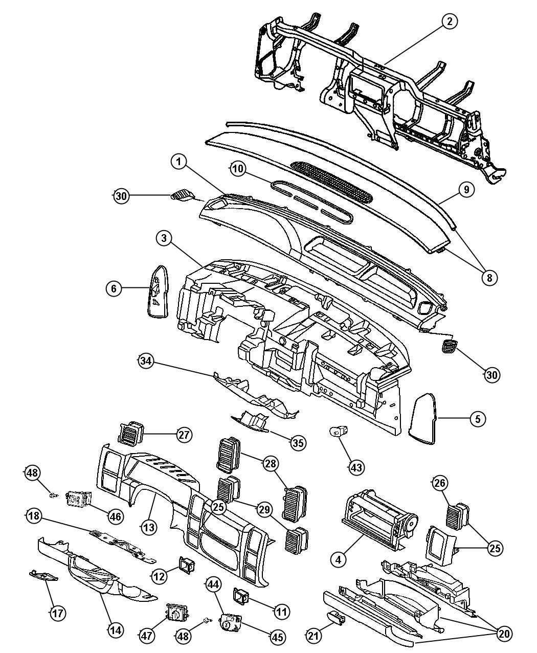 Dodge Dakota Grille Defroster Trim O0 Color