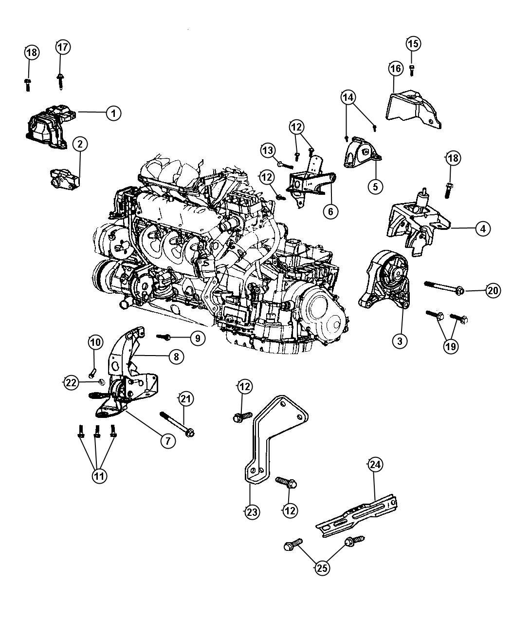 Chrysler Town Amp Country Bracket Front Left Engine