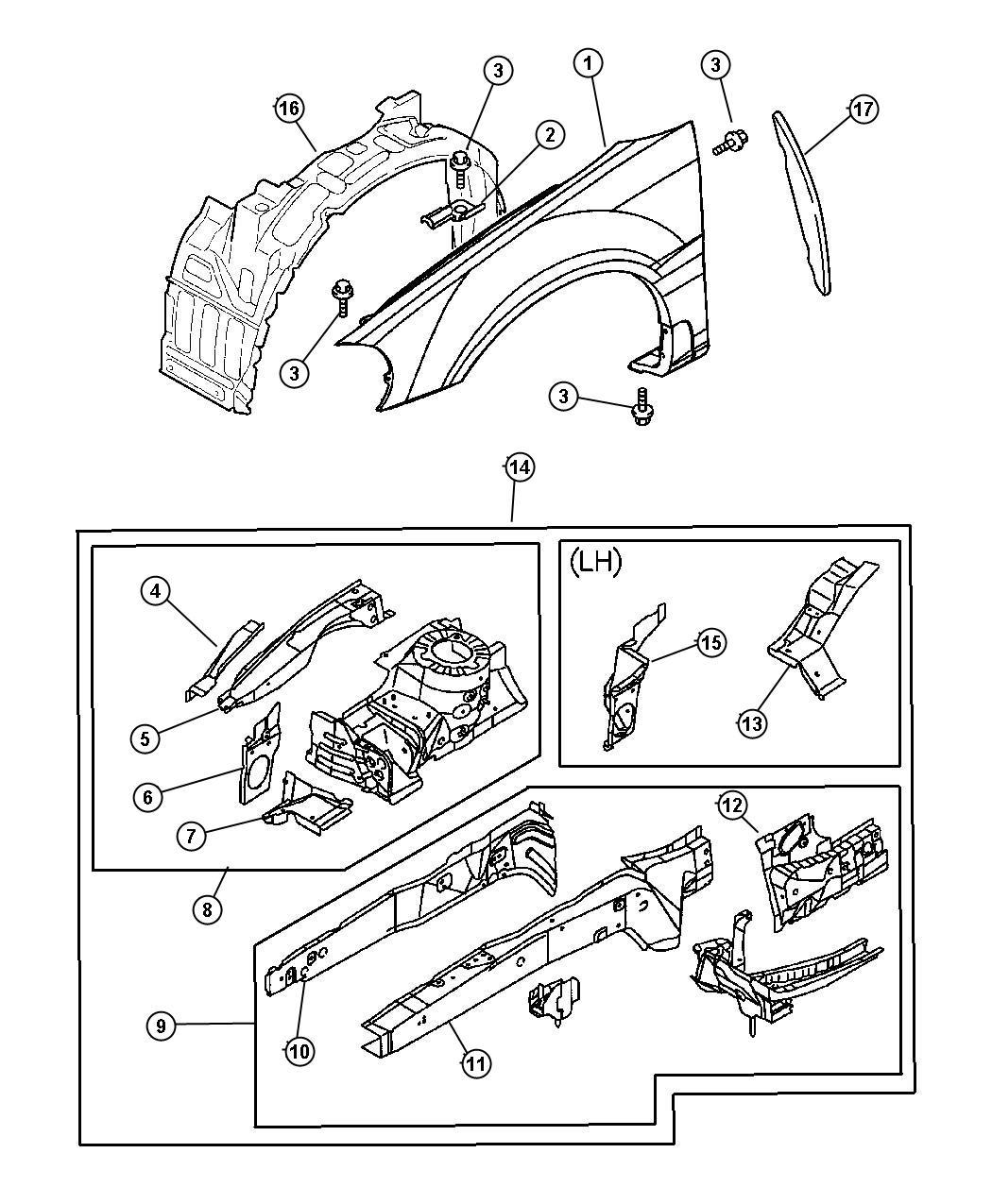 Chrysler Sebring Fender Front Left