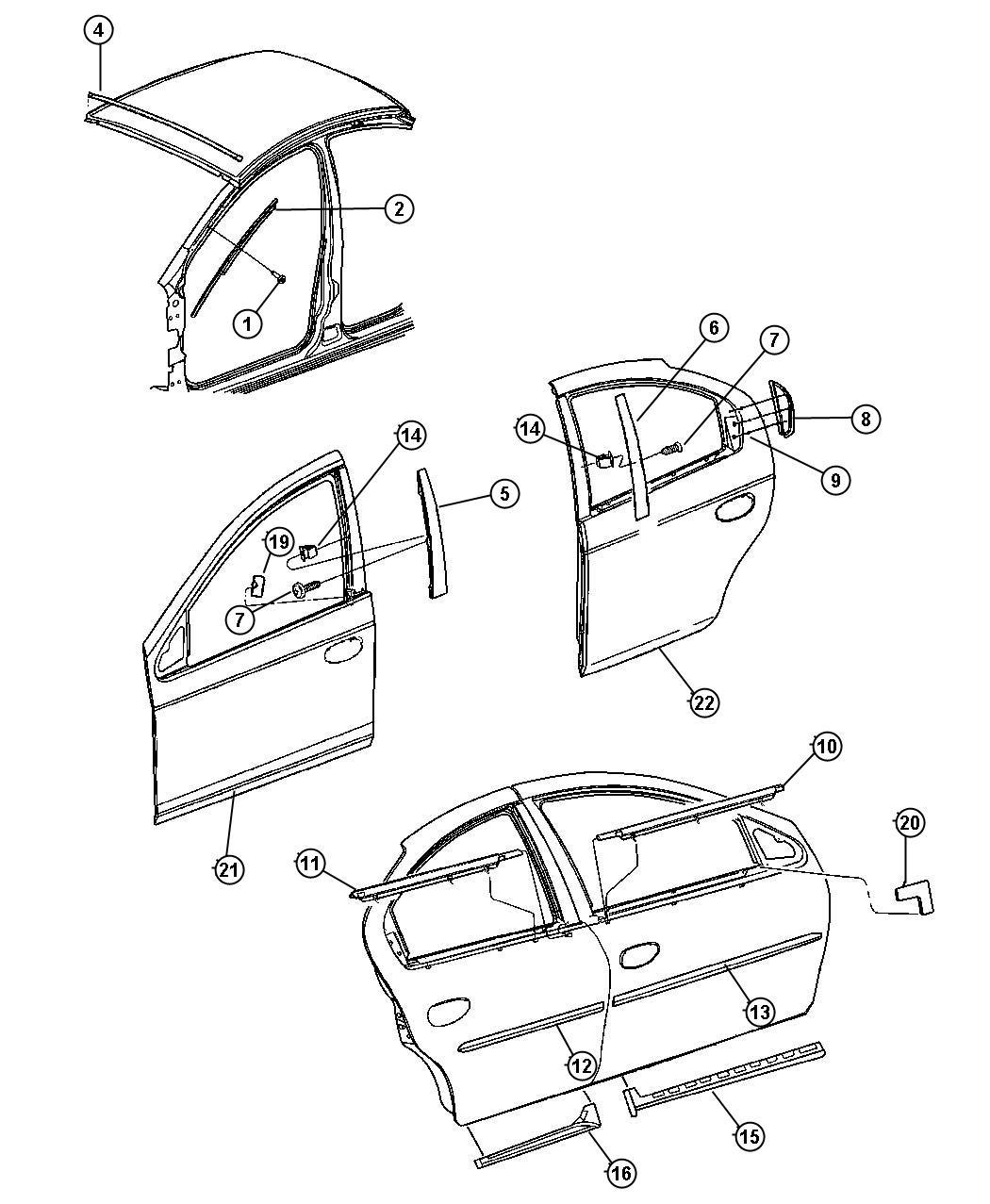 Dodge Neon Weatherstrip Right Rear Door Belt