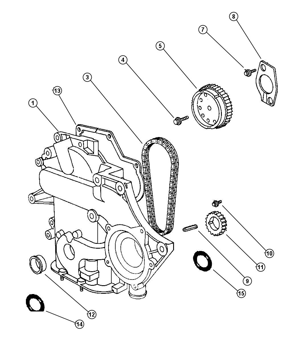 Plymouth Voyager Timing Chain And Cover 3 8l Egh Engine