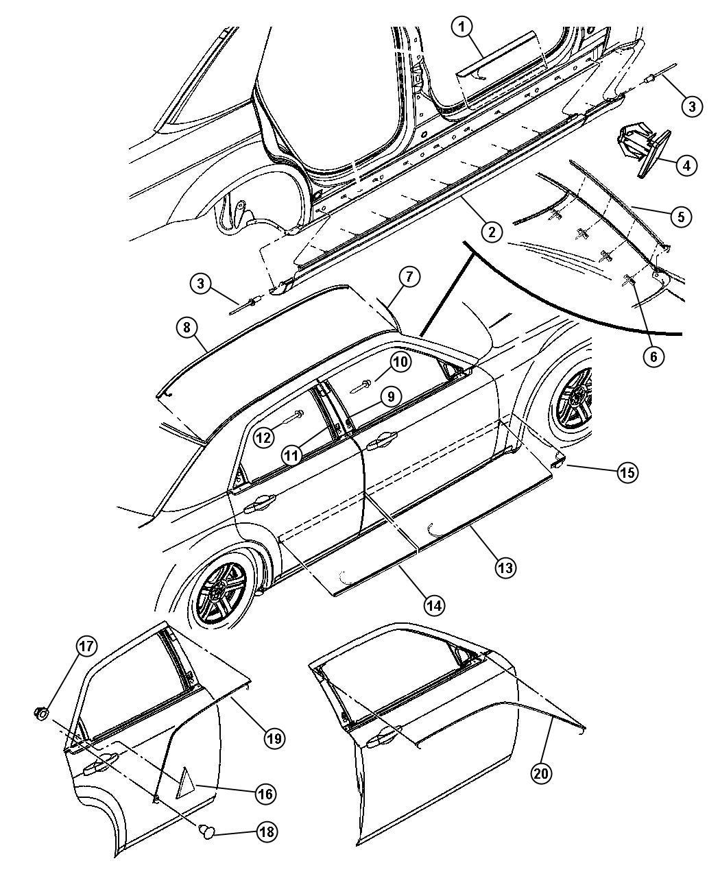 Dodge Charger Molding Rear Door Left Bodysi
