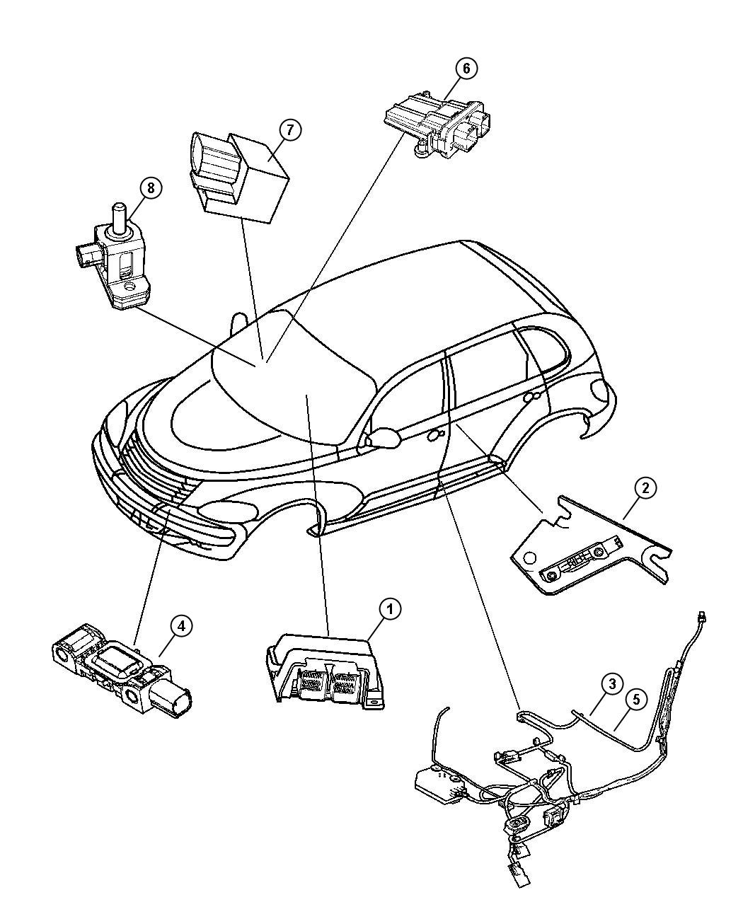 Chrysler Town Amp Country Sensor Air Bag Impact Side