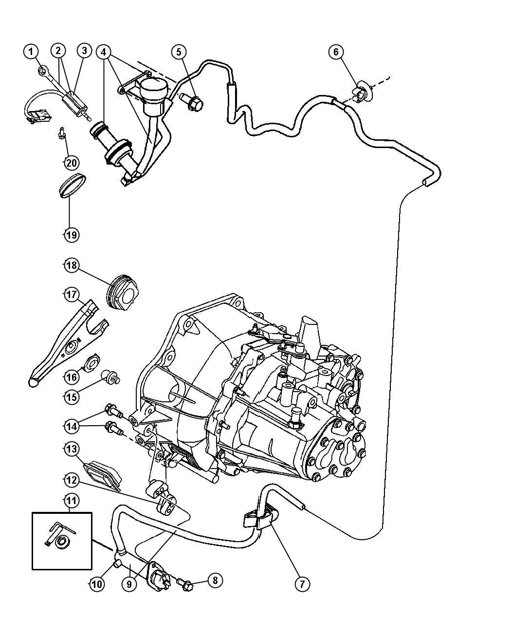Dodge Neon Actuator Hydraulic Clutch Clutch Master
