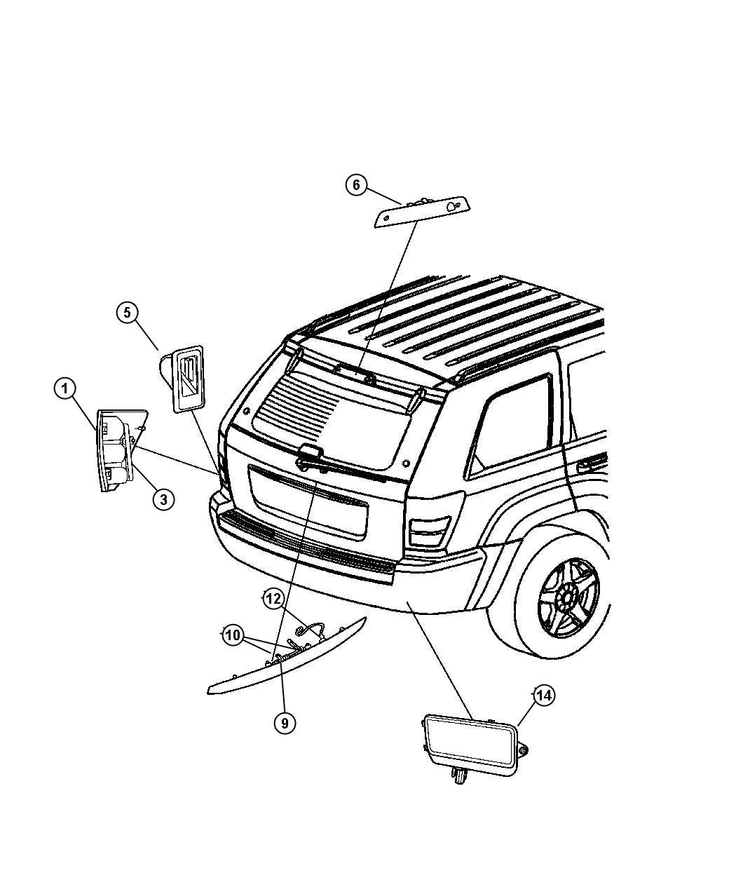 Jeep Grand Cherokee Lamp Left Tail Stop Turn Sidemarker