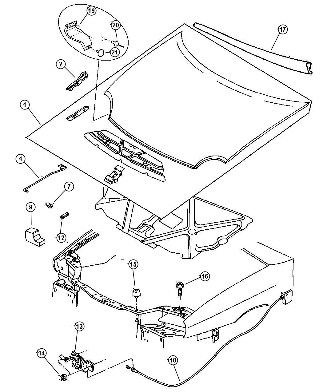 Chrysler Sebring Clip Prop Rod Plastic Displayheadlamp