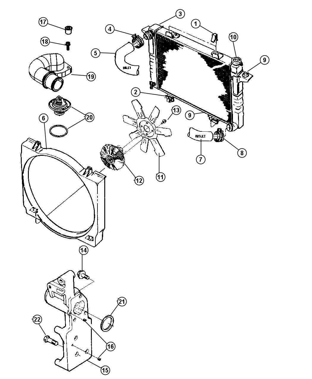 Dodge Ram Clip Upper Radiator Fan Shroud