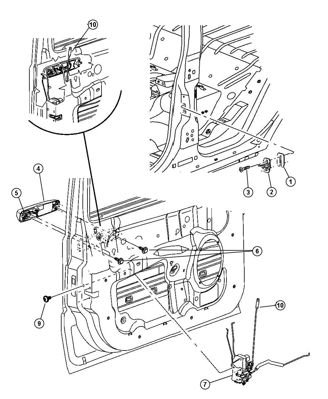 Chrysler 300 Clip Rod Door Lock Lock Rod To Cylinder