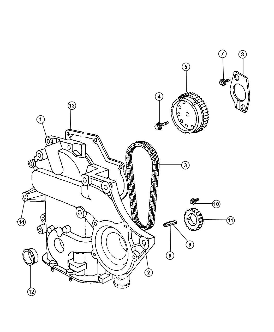 Timing Chain And Cover 3 3l 3 3l V6 Ohv Engine 3 3l V6