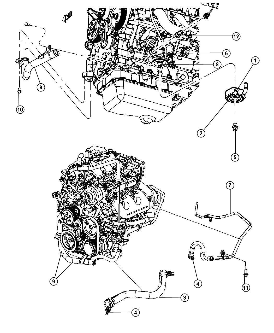 Engine Oil Cooler And Hoses Tubes 3 8l 3 8l V6 Ohv Engine