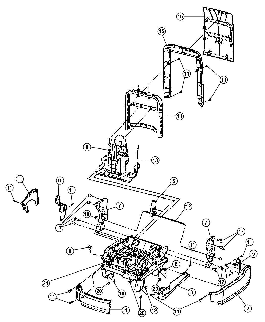 Chrysler Pacifica Motor Seat Recliner Power Seat Trim
