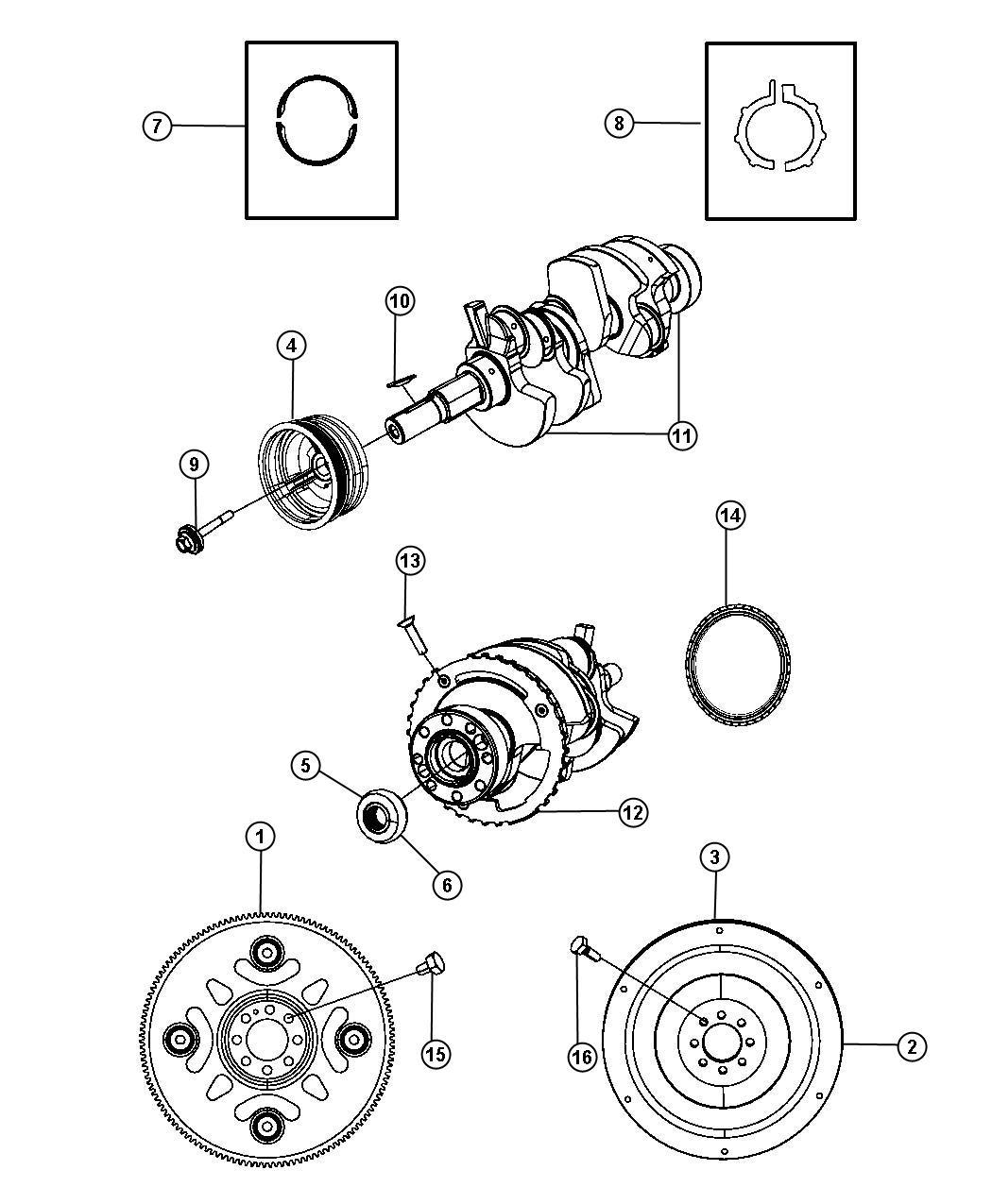 Jeep Liberty Sport Crankshaft Bearings Damper Flywheel And
