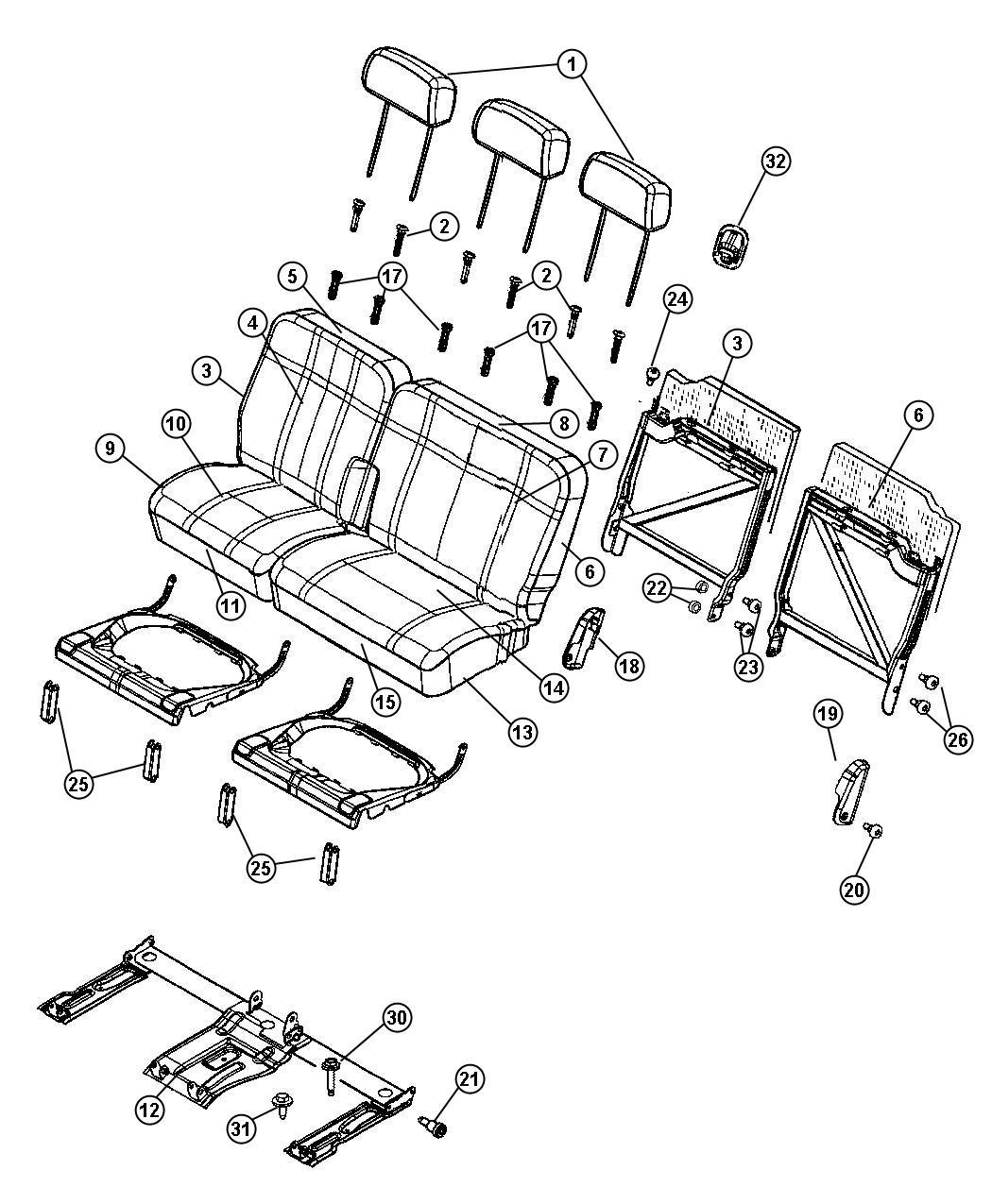 Chrysler Aspen Foam Seat Back Back Foam Left Trim Yl