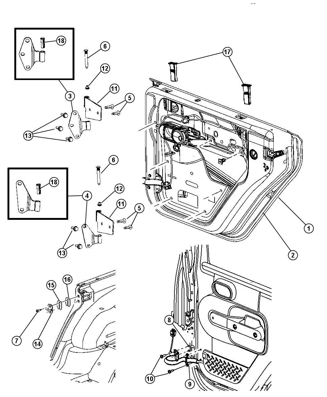 Jeep Wrangler Nut Door Hinge M6x1 00