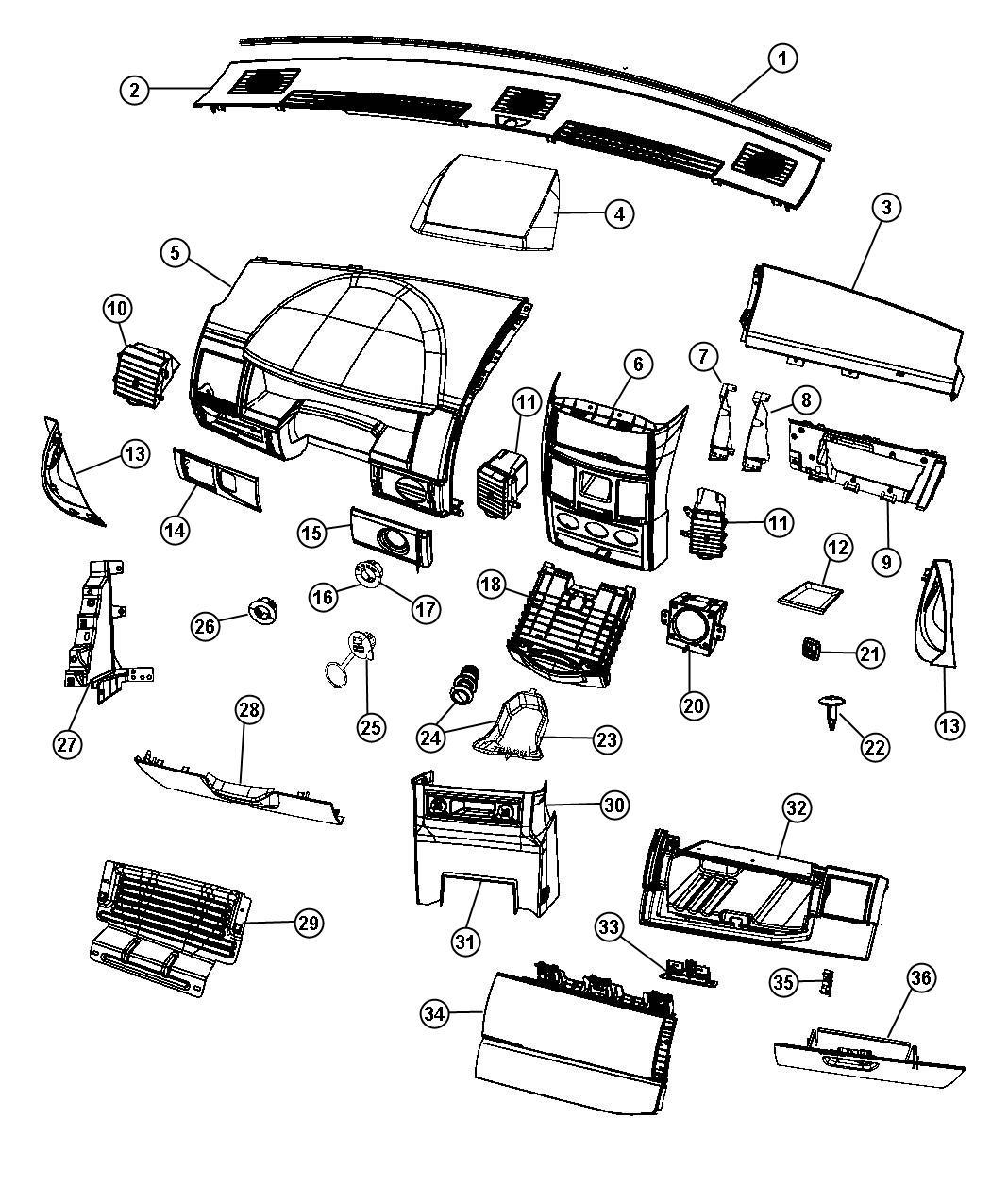 Dodge Grand Caravan Bin Glove Box Instrument Panel Trim