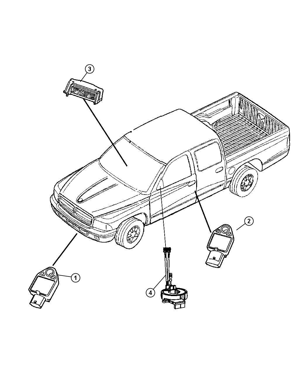 Dodge Ram Sensor Impact Side Airbag Impact Front