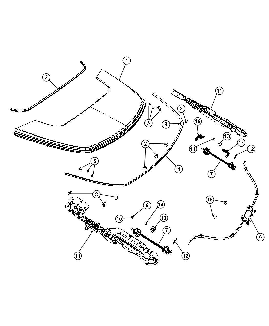 Chrysler Sebring Seal Front Tonneau Panel Trim