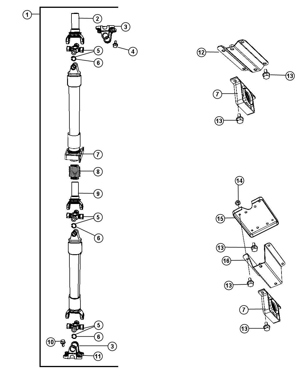 Jeep Compass U Joint Kit Shaftdriverear Hdrfe Caseall