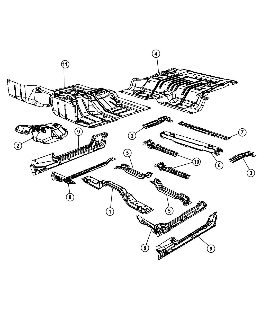 Jeep Wrangler Crossmember Rear Frame