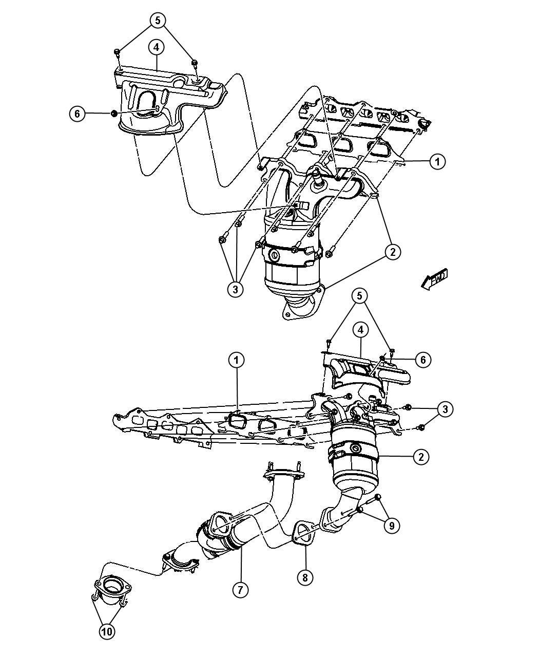 Chrysler 200 Gasket Crossunder Pipe Exhaust Pipe