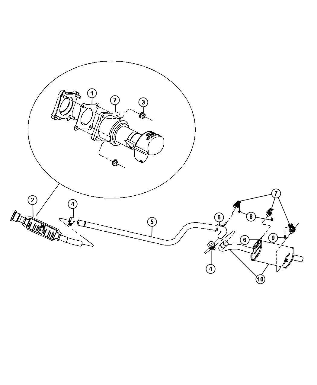 Chrysler Pt Cruiser Pipe Exhaust Extension Intermediate