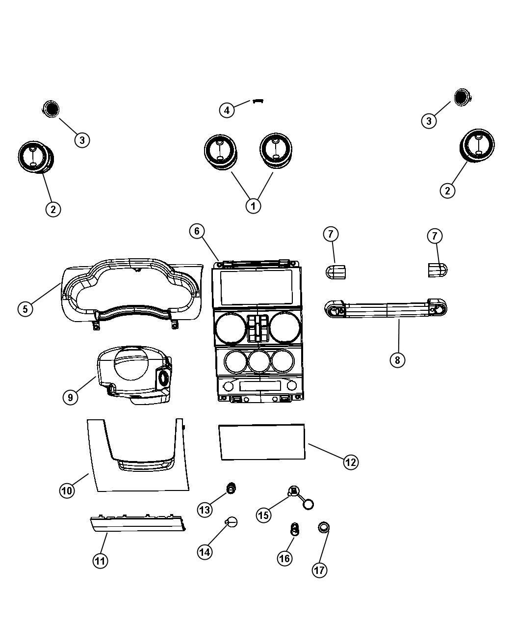 Jeep Wrangler Bezel Instrument Panel Center Pwr