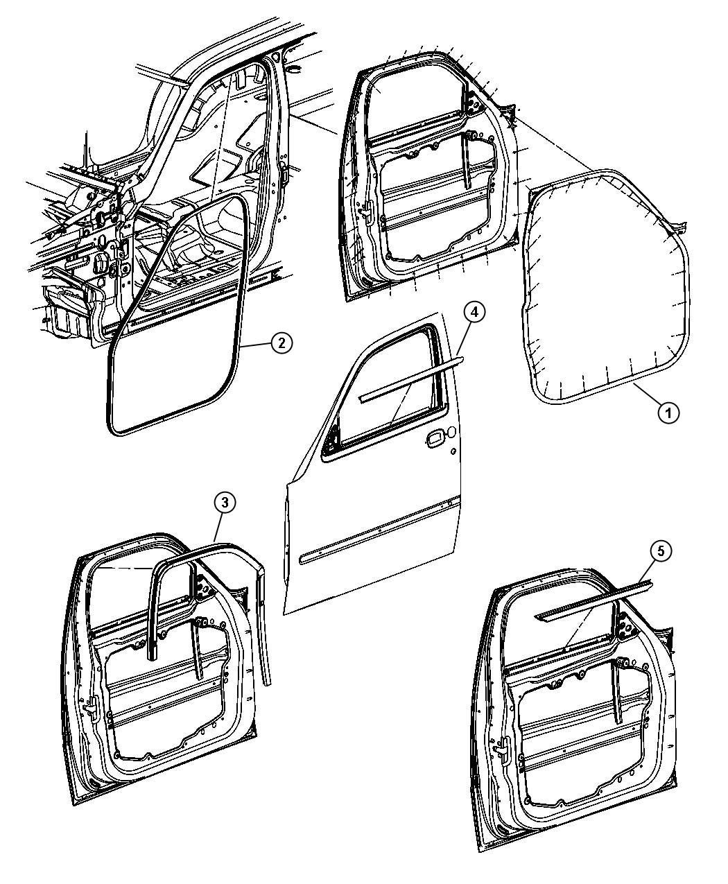Dodge Nitro Weatherstrip Front Door Belt Outer Right