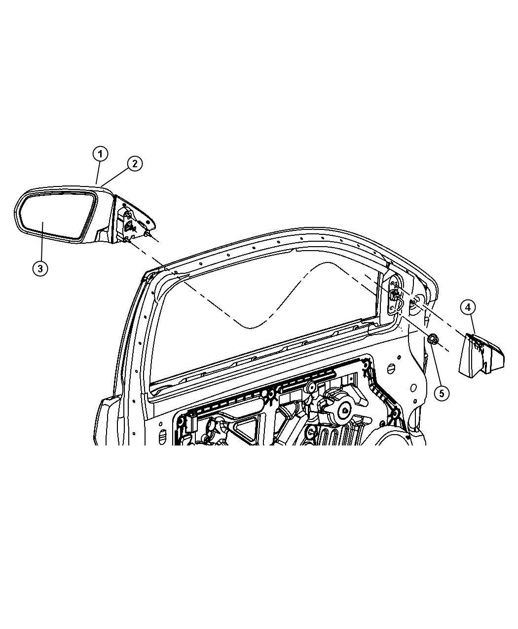 Chrysler Sebring Mirror Outside Rearview Right Color