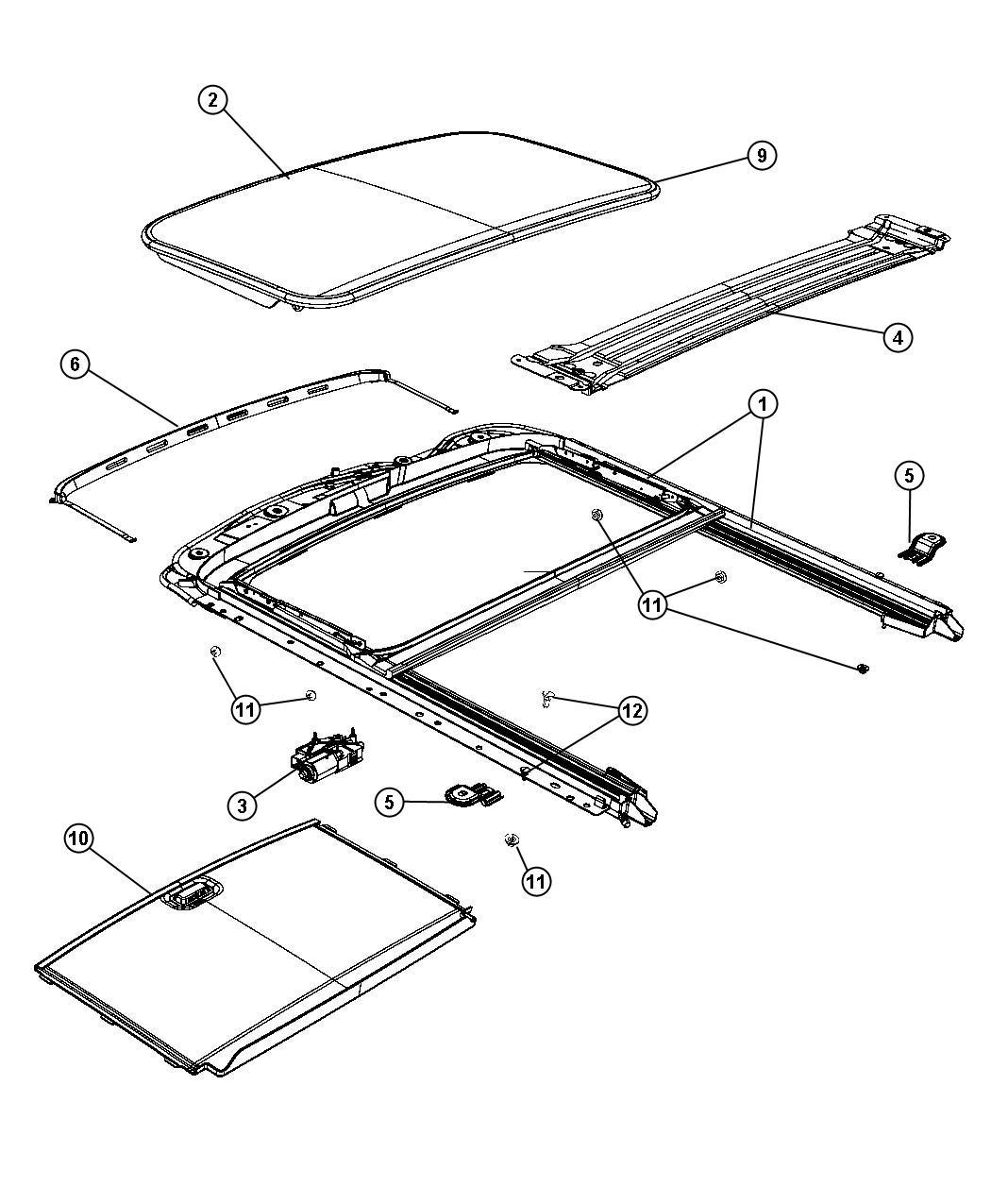 Dodge Journey Glass Sunroof Trim No Description