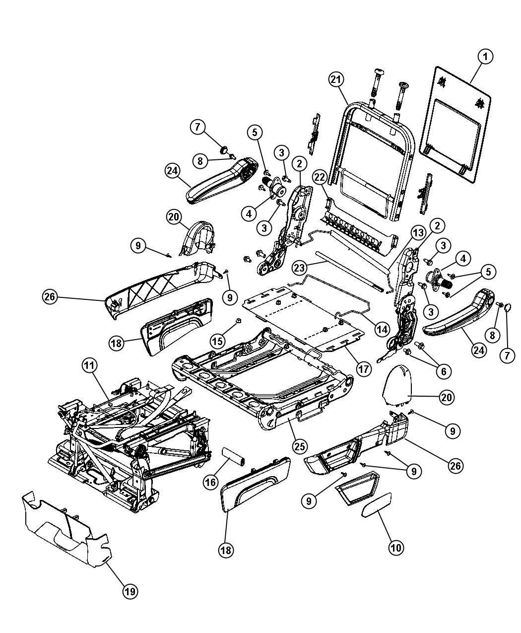Dodge Grand Caravan Armrest Rear Seat Right Trim