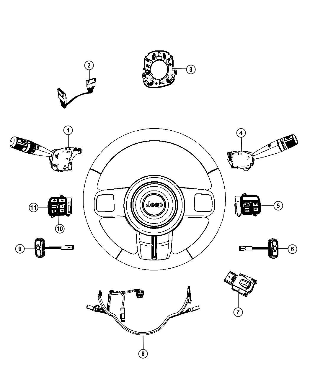 Jeep Liberty Switch Horn Trim All Trim Codes