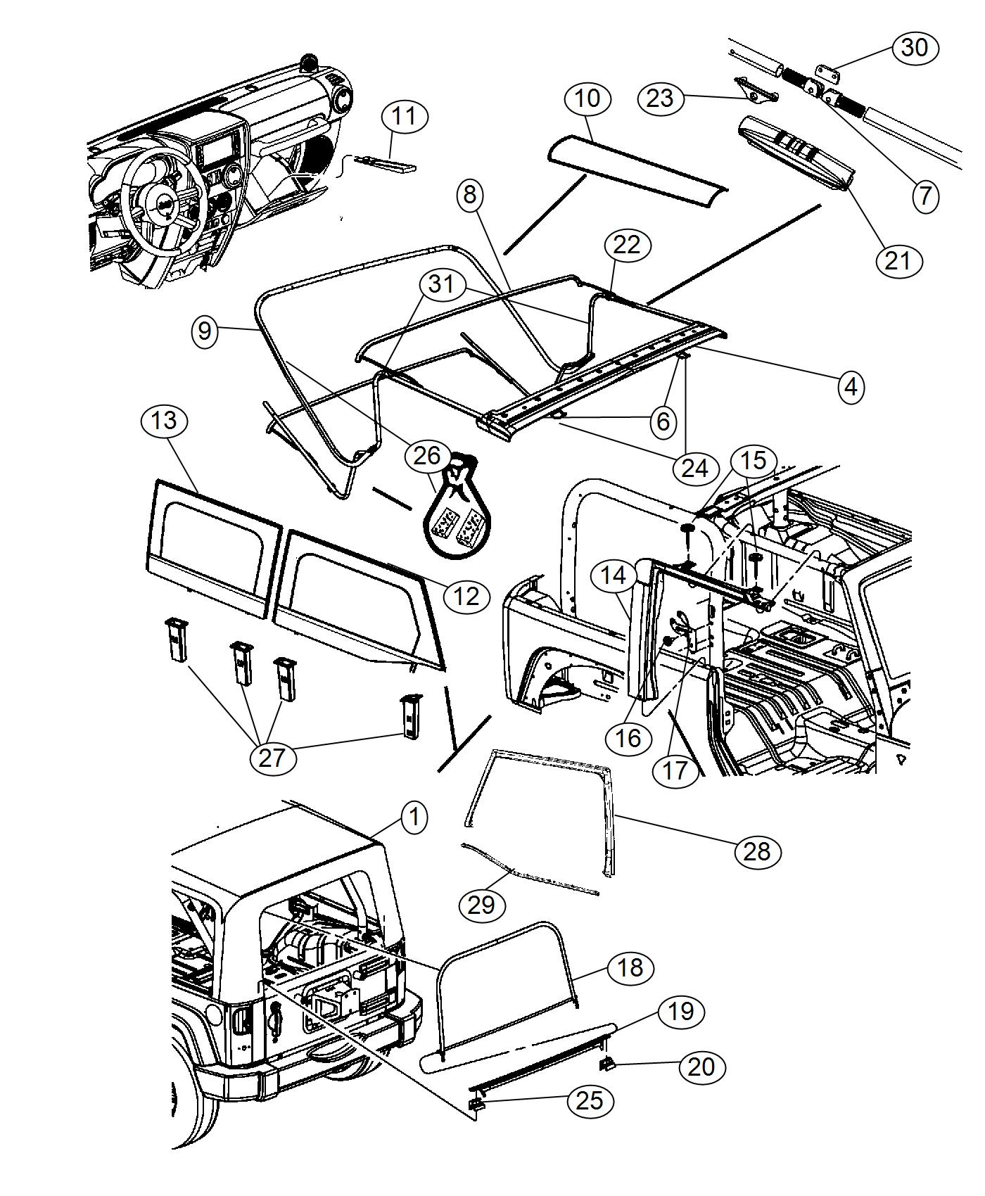 Jeep Wrangler Bracket Used For Soft Top Bow 1 And 3