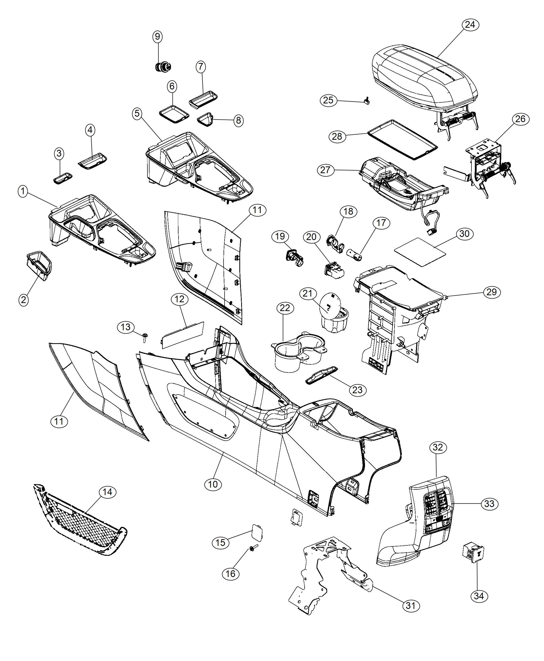 Jeep Cherokee Armrest Console Trim No Description