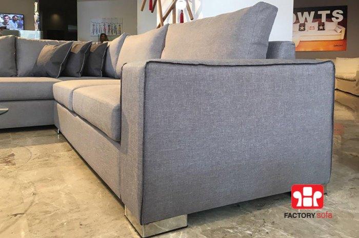 Γωνιακό Σαλόνι CHIOS 3,00m x 2,50m με δυνατότητα αλλαγής υφάσματος & διάστασης • Διακριτικό ρέλι στη πλευρά του μπράτσου • Αφαιρούμενα υφάσματα μαξιλαριών πλάτης & καθίσματος• Ελληνικής κατασκευής με την εγγύηση της Factory Sofa