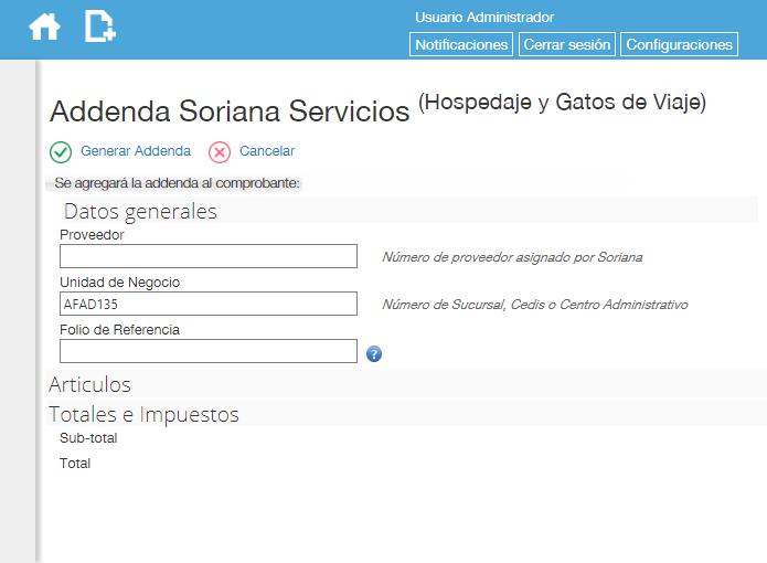 Addenda Soriana en Factura Fácilmente