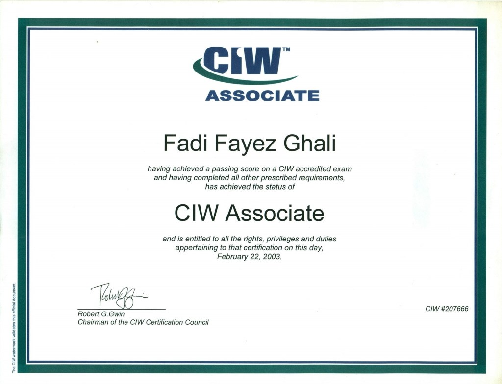 CIW certified Internet Webmaster: Associate Degree & Security Pro Degree · Egypt's Graduate Project · IBM · Professional Graduate Diploma in IT · San Diego, California Joint scholarship between MCIT Ministry of Communications & IT of Egypt & IBM Egypt accredited by IBM, MCIT & CIW through PROSOFT USA
