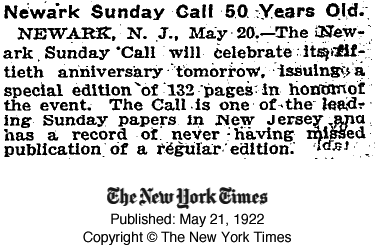 NY Times on Newark Sunday Call