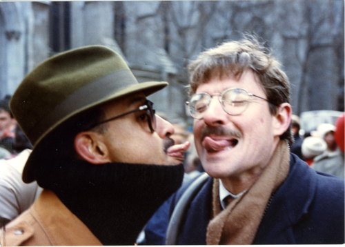 Phil Reed & Andy Humm at the ACT-UP Stop the Church Rally 1989 - St. Patricks Church