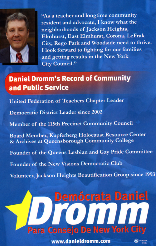 Vote in this years election for Daniel Dromm for NYC Council.