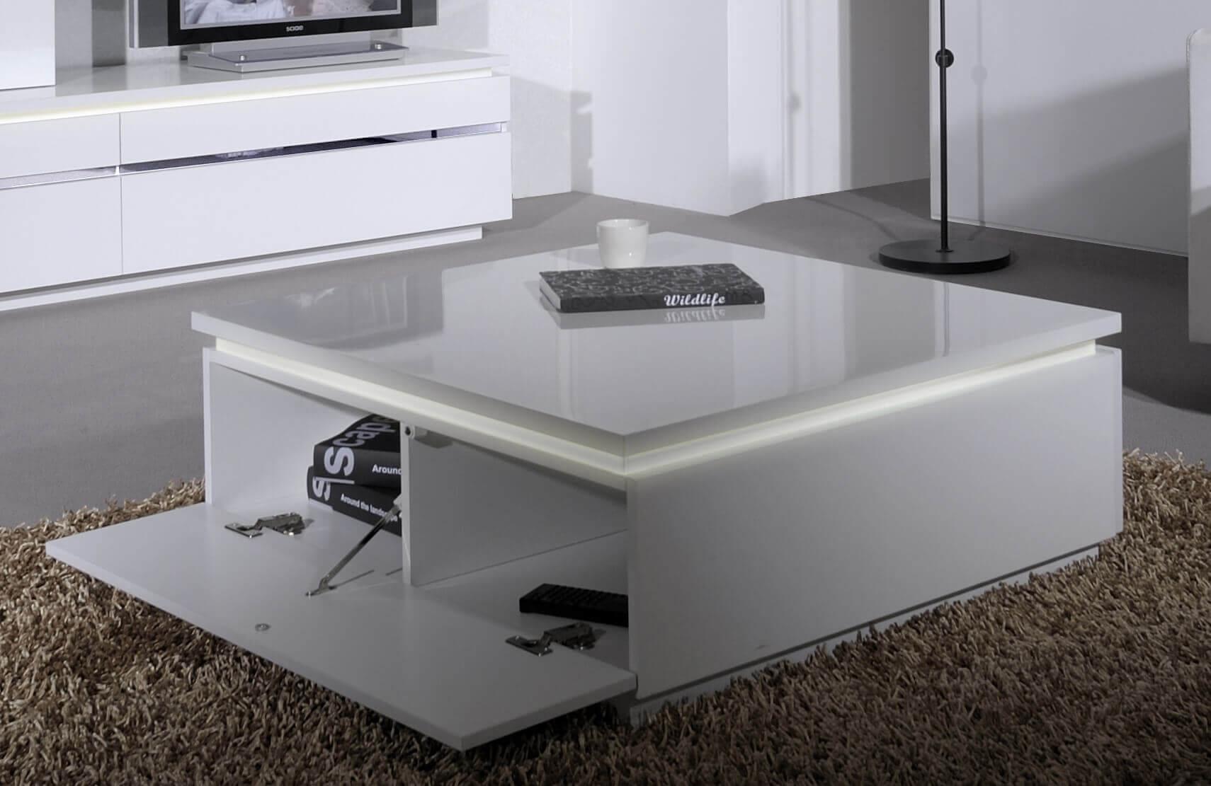 logan white high gloss coffee table with storage lights fads