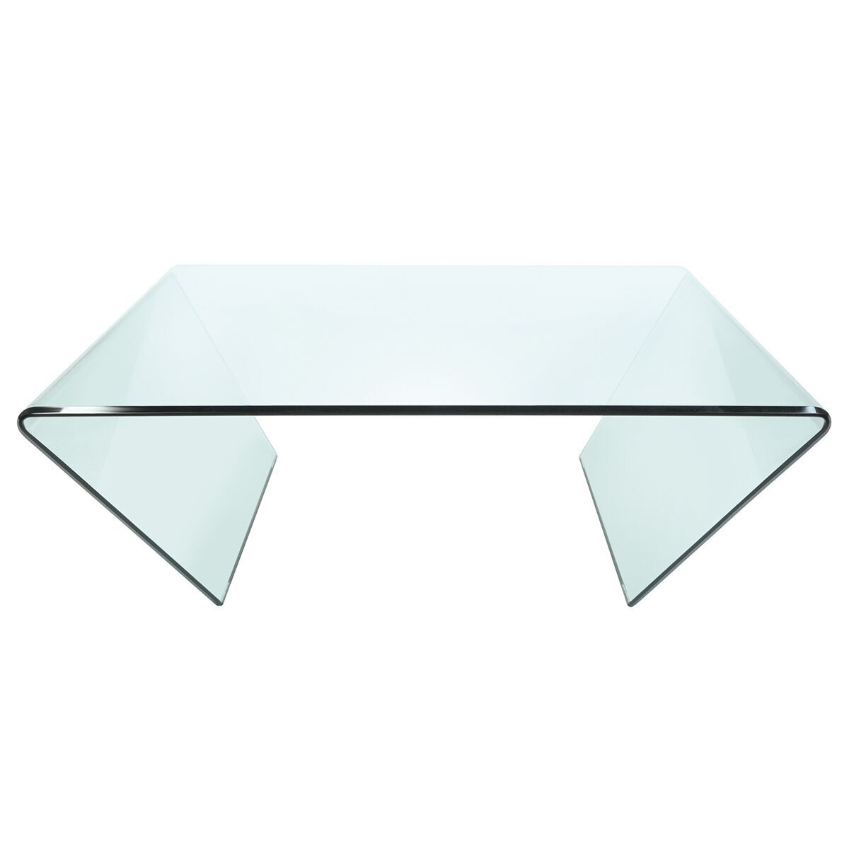 horizon square clear angled glass coffee table